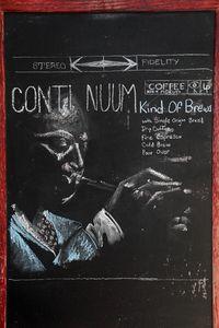 %22Kind of Brews%22 chalkboard artwork, Continuum Coffee, Avenue B, Manhattan