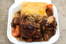 Stew chicken, pigeon peas and rice, macaroni pie, Tantz on the Go truck, Prospect Lefferts Gardens, Brooklyn