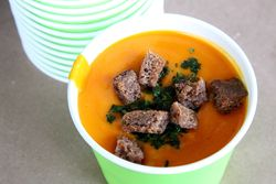 Chilled carrot soup, Sip Soups, New Amsterdam Market, South Street, Manhattan