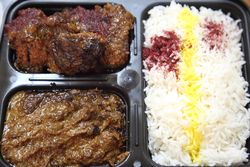 Kabab diggi, fesenjan, and rice, Taste of Persia, West 18th Street, Manhattan