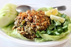 Tea leaf salad, Crazy Crab, Flushing, Queens