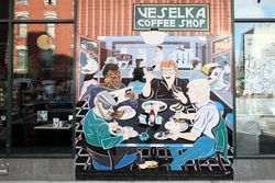 Mural outside Veselka, Second Avenue, Manhattan