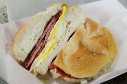 Egg sandwich with cheese and pork roll, Neptune Market, Harvey Cedars, New Jersey