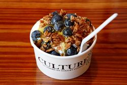 Yogurt with blueberries, honey, and granola, Culture, West 8th Street, Manhattan
