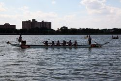 Cruising back to the boathouse, Hong Kong Dragon Boat Festival, Flushing Meadows Corona Park, Queens