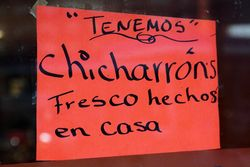 %22Chicharrons fresco hecho en casa,%22 Guatemex, Bensonhurst, Brooklyn