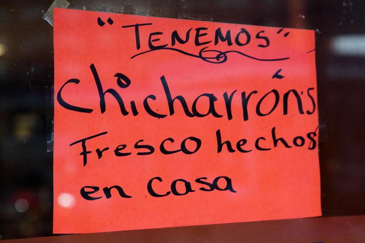 %22Chicharrons fresco hecho en casa,%22 Guatemex, Bensonhurst, Brooklyn