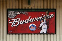 Budweiser ad, Mets-Willets Point subway station, Queens