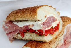 Prosciutto, mozzarella, and roasted pepper hero, G&R Italian Deli, Morris Park, Bronx