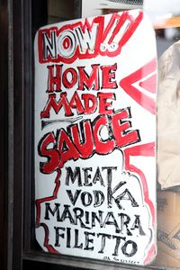 Hand-lettered sign for homemade sauce, G&R Italian Deli, Morris Park, Bronx