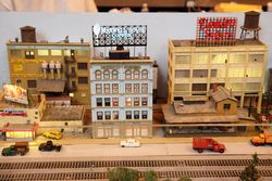 Models of Georgio Mozzarella, Maxwell House, and Domino Sugar buildings, Grand Centennial Parade of Trains, Grand Central Terminal, Manhattan