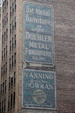 Surviving signage for Doehler Metal Furniture and Manning-Bowman, East 32nd Street, Manhattan