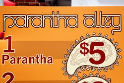 Parantha Alley menu board (detail), Smorgasburg, Dumbo, Brooklyn
