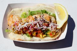 Shrimp roll with mango salsa, Corner Fish Market, LIC Flea, Long Island City, Queens
