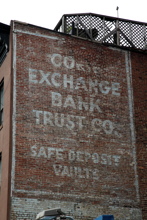 Suriviving signage for the Corn Exchange Bank Trust Company, Park Slope, Brooklyn