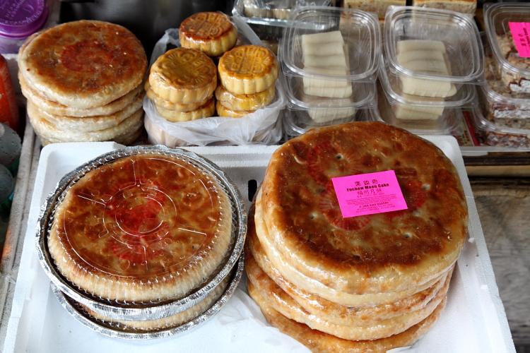 Fuchow moon cakes, Chinese snacks table, Chrystie Street, Manhattan