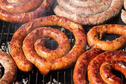Grilled sausages, Ferragosto festival, Belmont, Bronx