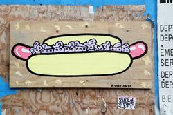 Cheese-dog art, Bowery, Manhattan
