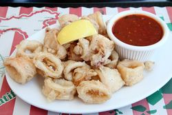 Fried calamari, Rocco's Calamari, Borough Park, Brooklyn