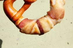 Bacon-wrapped pretzel, Bronx Baking Company, New Amsterdam Market, South Street, Manhattan