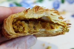 Beef-and-peas pastizz (biteaway view), Leli's Bakery & Pastry Shop, Astoria, Queens