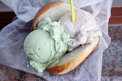 Pistachio and hazelnut gelati on a brioche, Villabate Alba, Bensonhurst, Brooklyn