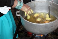 Deep-frying pholourie, Diwali Nagar, Arya Spiritual Center, Richmond Hill, Queens