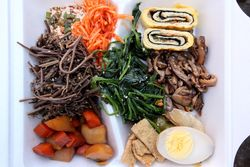 Korean by-the-pound sampler, 104 Broadway Farm, Broadway, Manhattan