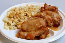 Chicken paprikas with nokedli at the Hungarian Reformed Church, Passaic, New Jersey