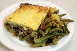 Moussaka and baked string beans, Saint Spyridon Greek Food Festival and Bazaar, Wadsworth Avenue, Manhattan