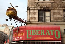 Liberato Food Market and its prop helicopter, Broadway, Manhattan