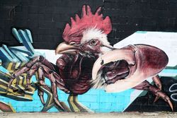 Mural with pig, rooster, and claws (detail), Claremont, Bronx