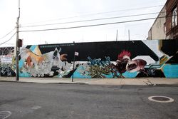 Mural with pig, rooster, and claws, Claremont, Bronx