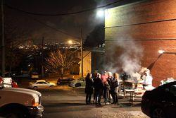Parking-lot grill, Saints Vartanantz Armenian Apostolic Church Bazaar, Ridgefield, New Jersey