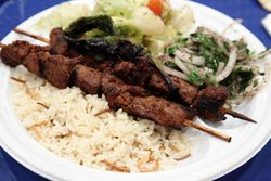 Shish kebab platter, Saints Vartanantz Armenian Apostolic Church Bazaar, Ridgefield, New Jersey