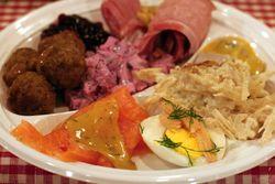 Plate lunch, Church of Sweden Christmas Bazaar, East 48th Street, Manhattan