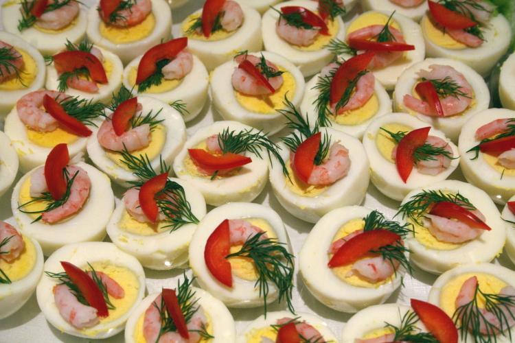 Shrimp-topped eggs on the lunch buffet, Norwegian Seamen's Church, East 52nd Street, Manhattan