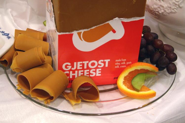 Gjetost on the lunch buffet, Norwegian Seamen's Church, East 52nd Street, Manhattan