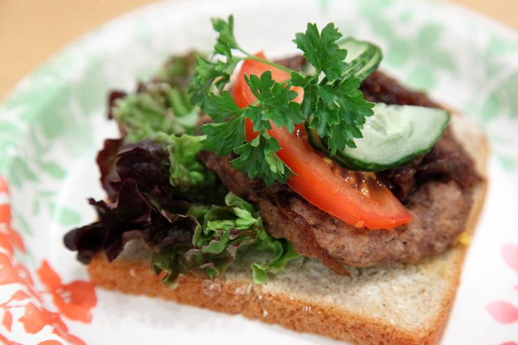 Karbonade og lok smorbrod, open-faced hamburger sandwich with onion, Norwegian Seamen's Church Christmas Fair, East 52nd Street, Manhattan
