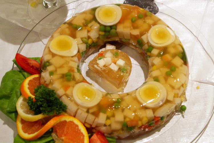 Jelled salad on the lunch buffet, Norwegian Seamen's Church, East 52nd Street, Manhattan
