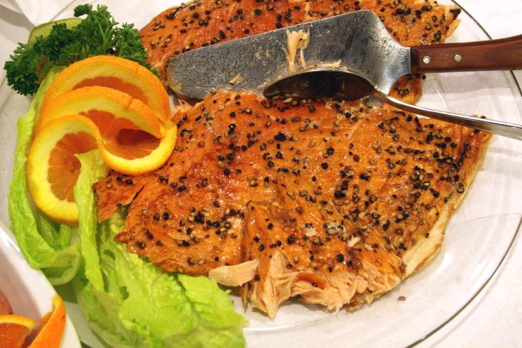 Salmon on the lunch buffet, Norwegian Seamen's Church, East 52nd Street, Manhattan