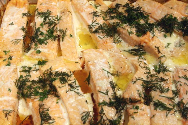 Baked fish on the lunch buffet, Norwegian Seamen's Church, East 52nd Street, Manhattan