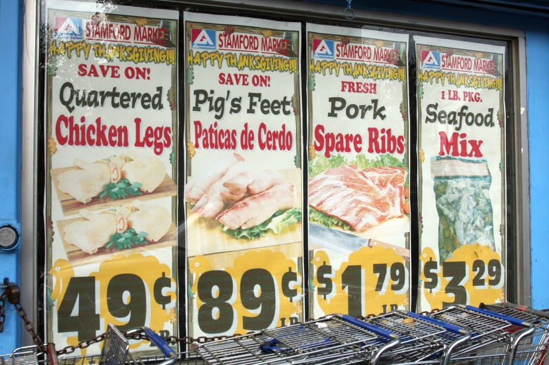 Pig's feet on sale for Thanksgiving at Stamford Market, Stamford, Connecticut
