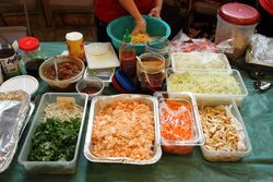 Fixings for a-sone thoke, mixed salad, Myanmar Baptist Church Fun Fair, East Elmhurst, Queens