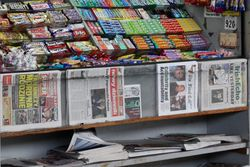 Newsstand (detail of newspapers), Rockaway Avenue station, Canarsie, Brooklyn