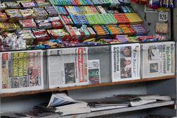 Newsstand (detail of newspapers), Rockaway Avenue station, Canarsie, Brooklyn