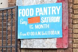 Food pantry signage, Bedford-Stuyvesant, Brooklyn