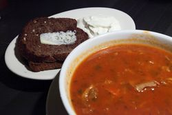 Borscht, black bread, and sour cream, Olive Tree Cafe, MacDougal Street, Manhattan