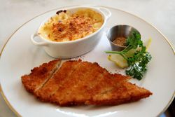 Chicken schnitzel with shrimp bisque mac and cheese, Mountain Bird, West 145th Street, Manhattan