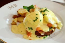 Smoked salmon eggs benedict, Mountain Bird, West 145th Street, Manhattan